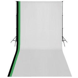 Fotostudio Set 3 Baumwolle-Hintergründe Rahmen verstellbar 3x6m