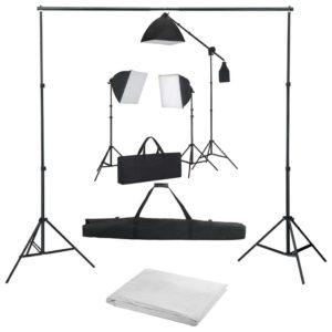 Fotostudio-Set mit Softbox-Leuchten und Hintergrund
