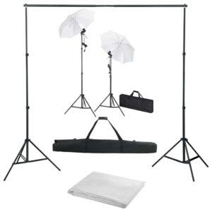 Fotostudio-Set mit Hintergrund, Leuchten und Schirmen
