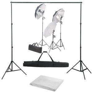 Fotostudio-Set mit Lampen-Set und Hintergrund
