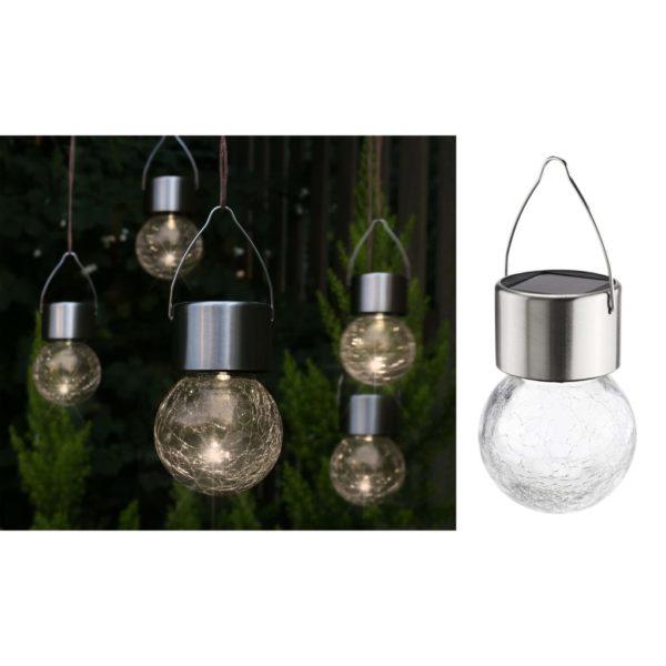 HI Solar-LED-Lichter zum Aufhängen 5 Stk. Risse-Glas-Design