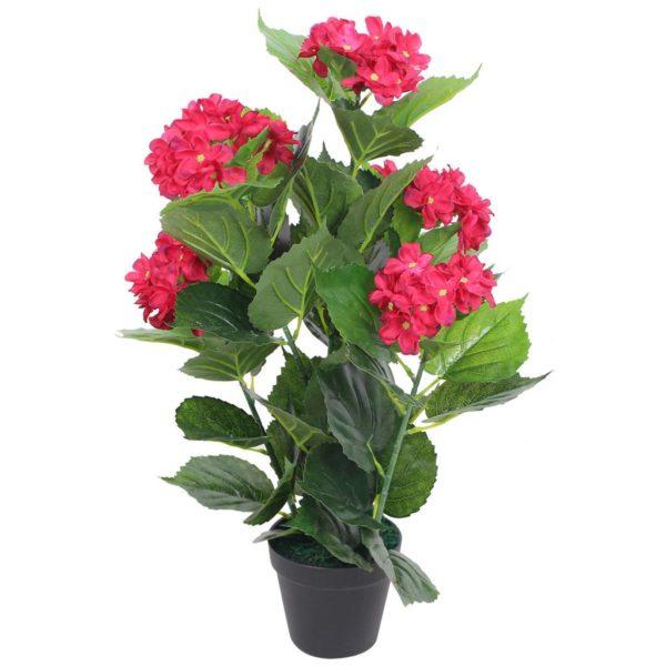 Künstliche Hortensie mit Topf 60 cm Rot