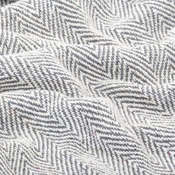 Überwurf Baumwolle Fischgrätmuster 160 x 210 cm Grau