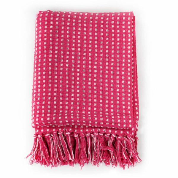 Überwurf Baumwolle Kariert 125 x 150 cm Rosa