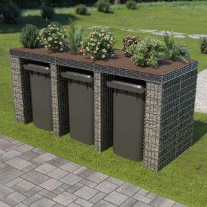 Gabionenwand für Mülltonne 270×100×130 cm Verzinkter Stahl