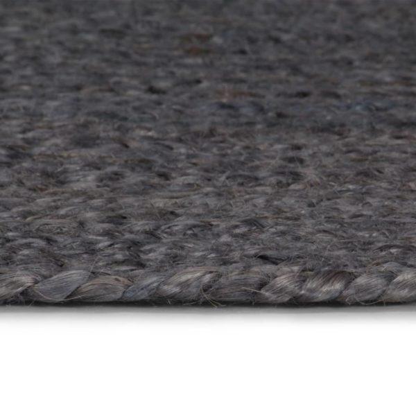 Teppich Handgefertigt Jute Rund 90 cm Dunkelgrau