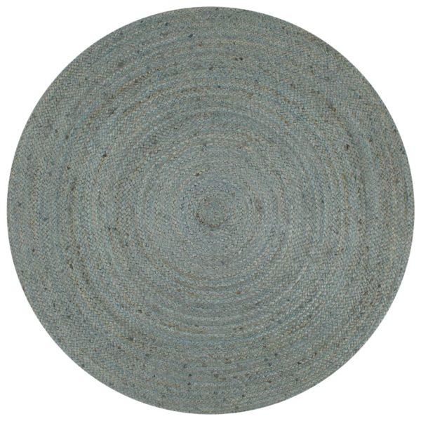 Teppich Handgefertigt Jute Rund 120 cm Olivgrün