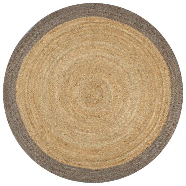 Teppich Handgefertigt Jute mit Grauem Rand 90 cm