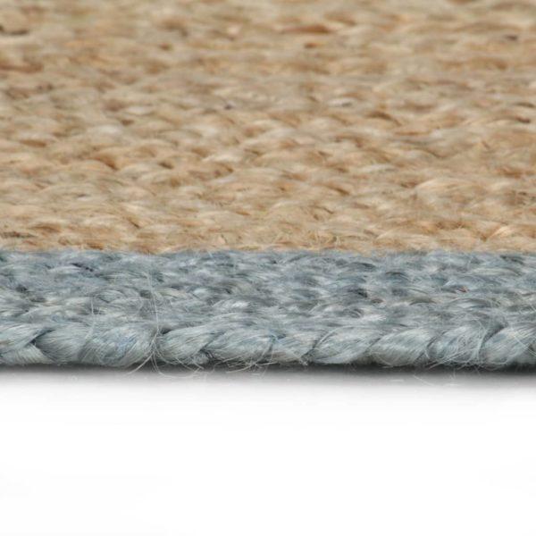 Teppich Handgefertigt Jute mit Olivgrünem Rand 90 cm