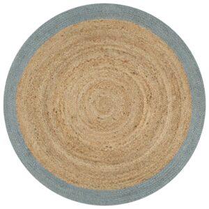 Teppich Handgefertigt Jute mit Olivgrünem Rand 120 cm