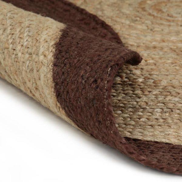 Teppich Handgefertigt Jute mit Braunem Rand 120 cm