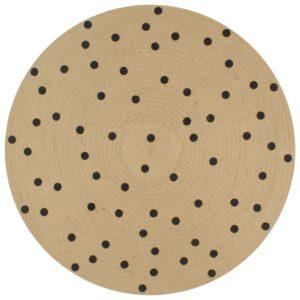 Teppich Handgefertigt Jute mit Punktmuster 90 cm