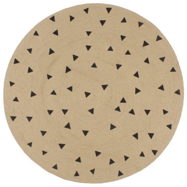 Teppich Handgefertigt Jute mit Dreiecksmuster 120 cm