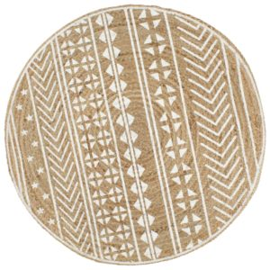 Teppich Handgefertigt Jute mit weißem Aufdruck 90 cm