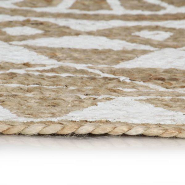 Teppich Handgefertigt Jute mit weißem Aufdruck 120 cm