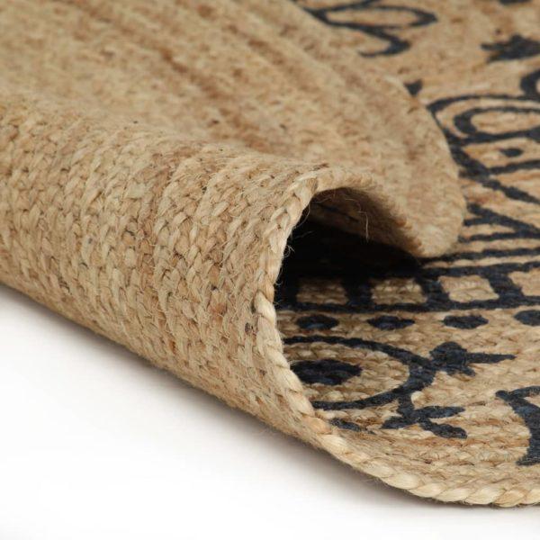 Teppich Handgefertigt Jute mit Dunkelblauem Aufdruck 90 cm