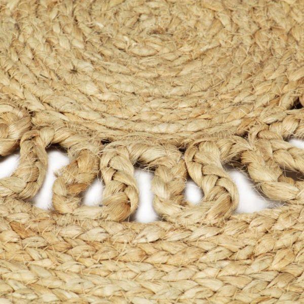 Teppich Handgefertigt Jute Geflochten 90 cm