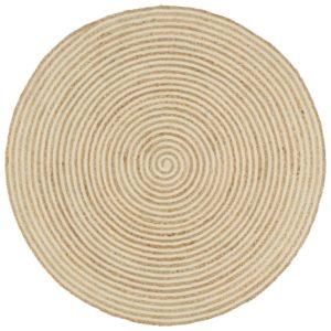 Teppich Handgefertigt Jute mit Spiralen-Design Weiß 90 cm