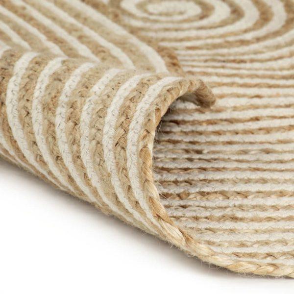 Teppich Handgefertigt Jute mit Spiralen-Design Weiß 120 cm
