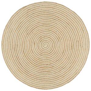 Teppich Handgefertigt Jute mit Spiralen-Design Weiß 150 cm