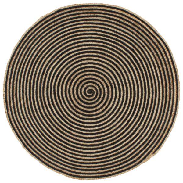 Teppich Handgefertigt Jute mit Spiralen-Design Schwarz 90 cm