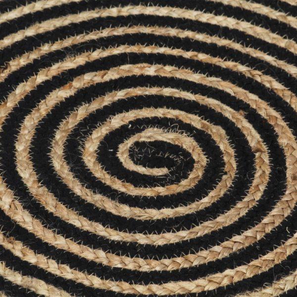 Teppich Handgefertigt Jute mit Spiralen-Design Schwarz 120 cm