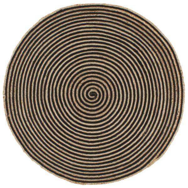 Teppich Handgefertigt Jute mit Spiralen-Design Schwarz 150 cm