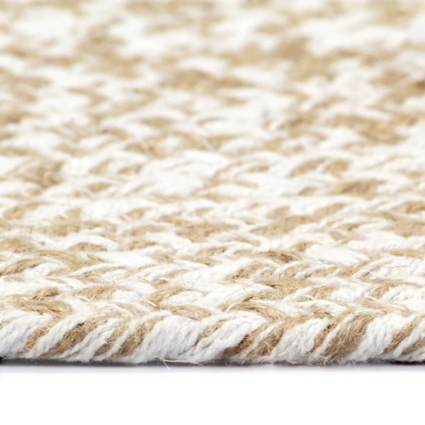 Teppich Handgefertigt Jute Weiß und Natur 90 cm