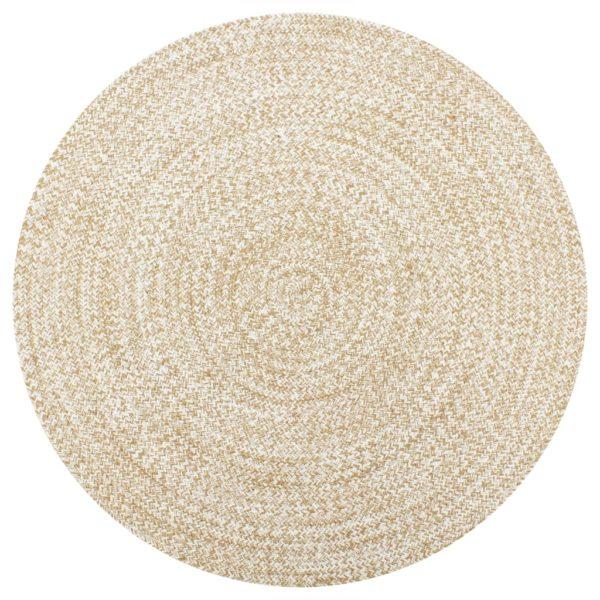 Teppich Handgefertigt Jute Weiß und Natur 150 cm