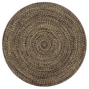 Teppich Handgefertigt Jute Schwarz und Natur 90 cm