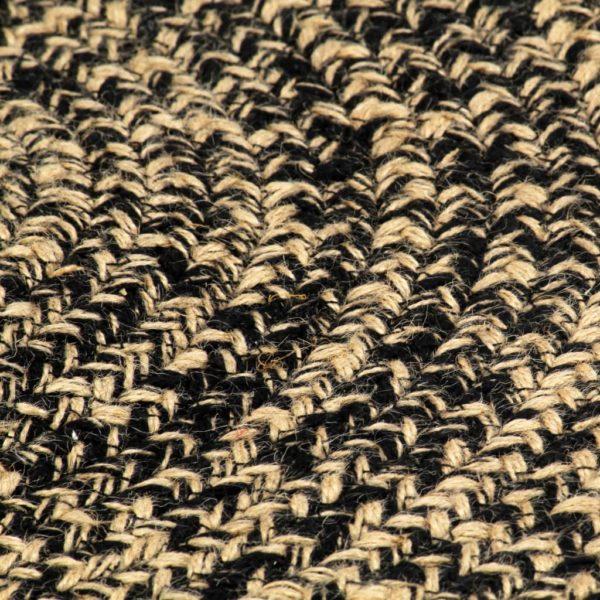 Teppich Handgefertigt Jute Schwarz und Natur 120 cm