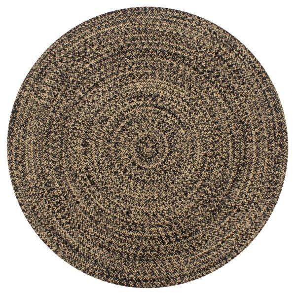 Teppich Handgefertigt Jute Schwarz und Natur 150 cm