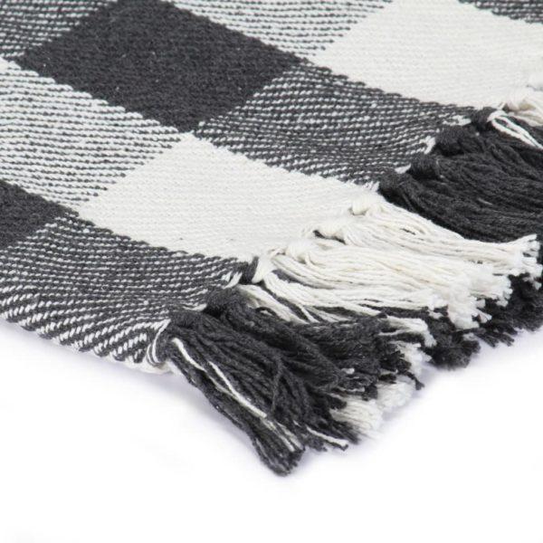 Überwurf Baumwolle Karo 125×150 cm Anthrazit