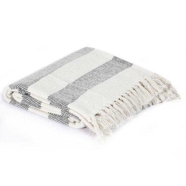 Überwurf Baumwolle Streifen 220×250 cm Anthrazit