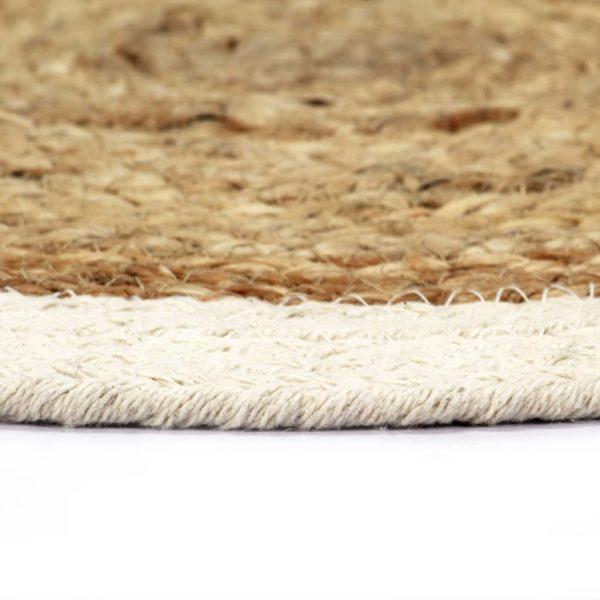 Tischsets 6 Stk. Uni Natur 38 cm Rund Jute und Baumwolle