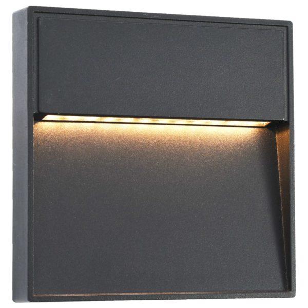 Außenwandleuchten 2 Stk. LED 3W Schwarz Quadratisch