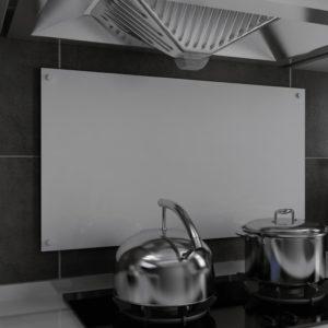 Küchenrückwand Weiß 90 x 50 cm Hartglas