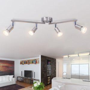 Deckenleuchte mit 4 LED Spotlights Satin Nickel