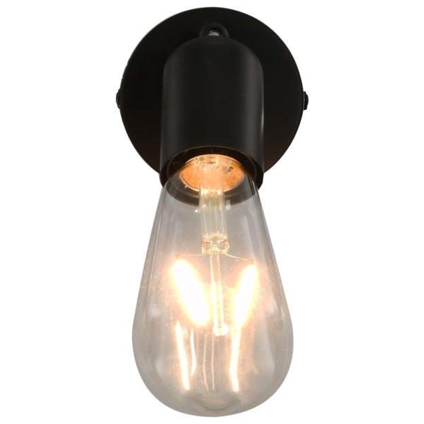 Strahler 2 Stk. mit Glühlampen 2 W Schwarz E27