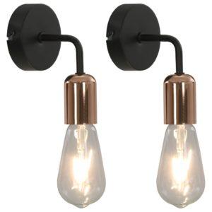 Wandleuchten 2 Stk. mit Glühlampen 2 W Schwarz und Kupfer E27