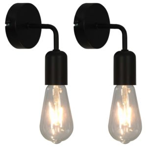 Wandleuchten 2 Stk. mit Glühlampen 2 W Schwarz E27