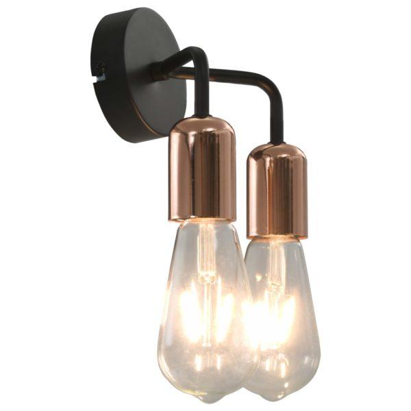 Wandleuchte mit Glühlampen 2 W Schwarz und Kupfer E27