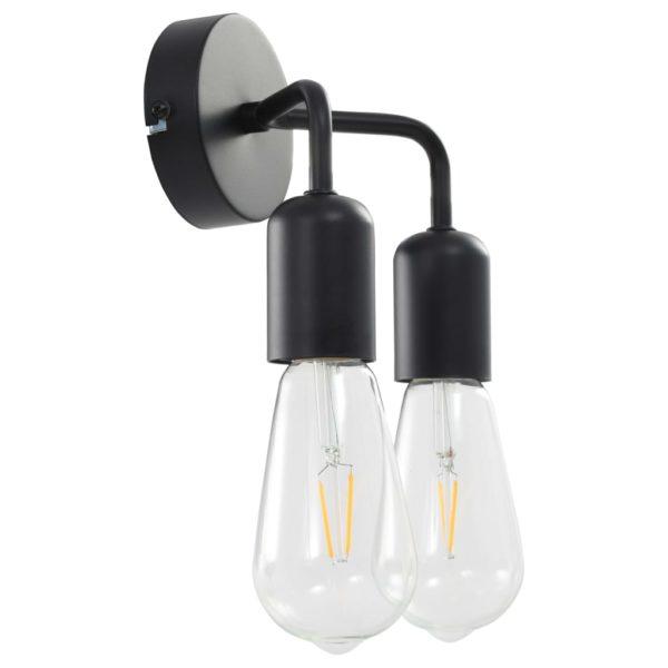 Wandleuchte mit Glühlampen 2 W Schwarz E27