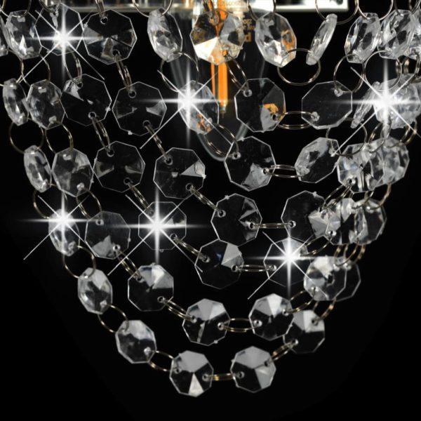 Wandleuchte mit Kristallperlen Silbern Oval E14-Fassung
