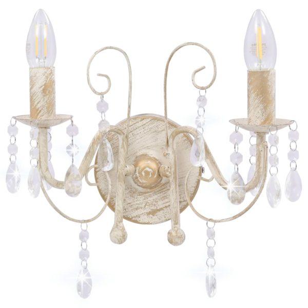 Wandleuchte mit Perlen Antik Weiß 2 × E14-Fassungen