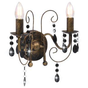 Wandleuchte mit Perlen Antik-Schwarz 2 × E14-Glühbirnen