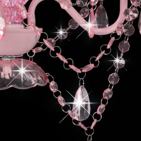 Kronleuchter mit Perlen Rosa Rund 3×E14