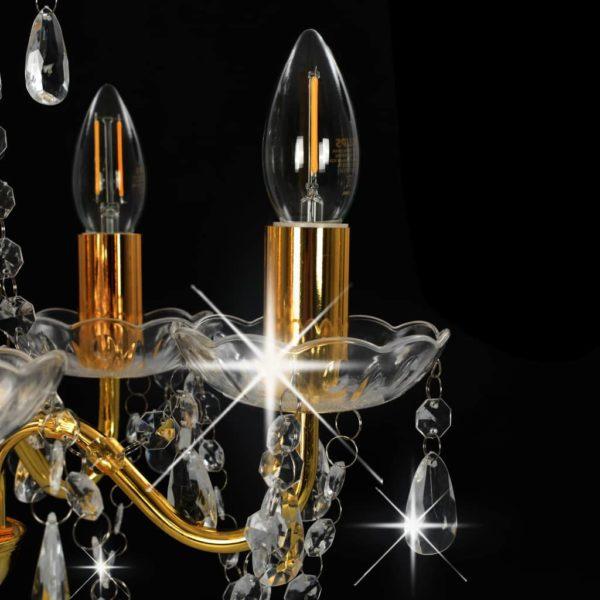 Kronleuchter mit Perlen Golden Rund 5×E14