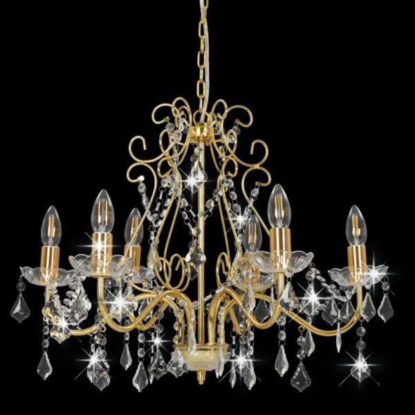 Kronleuchter mit Kristallperlen Golden Rund 6×E14