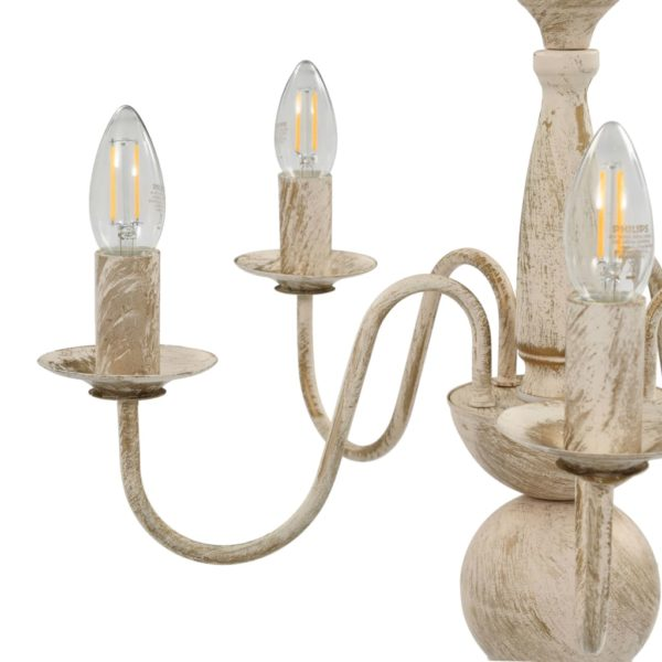 Kronleuchter Antik Weiß 5×E14-Glühbirnen